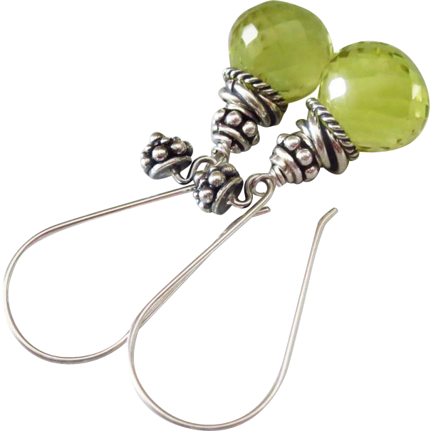 Gem Green Gold Quartz-Balinese Handmade Silver Dangle Earrings