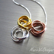 Triple Trinity Ring-Sterling Silver-Rose Yellow Gold Vermeil-Mixed Metal Necklace