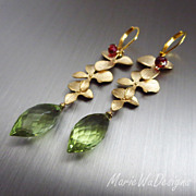 Petals-Green Gold Quartz-Garnet-Gold Plated Leverback Earrings