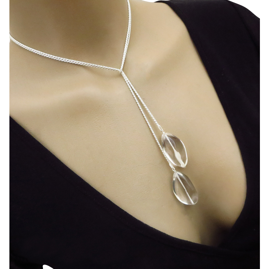 3 way-Pristine Crystal Quartz-Sterling Silver Lariat Pendant Necklace