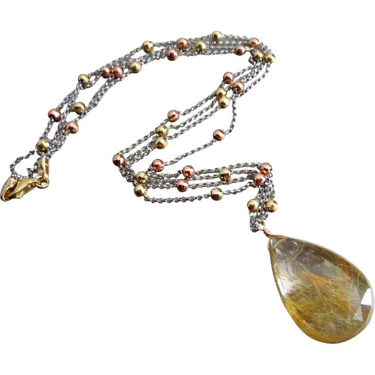 Spun Gold-Rutilated Quartz-Solid 14k Tri Colored Gold-Rose-Yellow-White Gold- Pendant 2 Strand Necklace