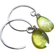 Lemon Quartz-Mother of Pearl Doublet-Sterling Silver Hoop Earrings