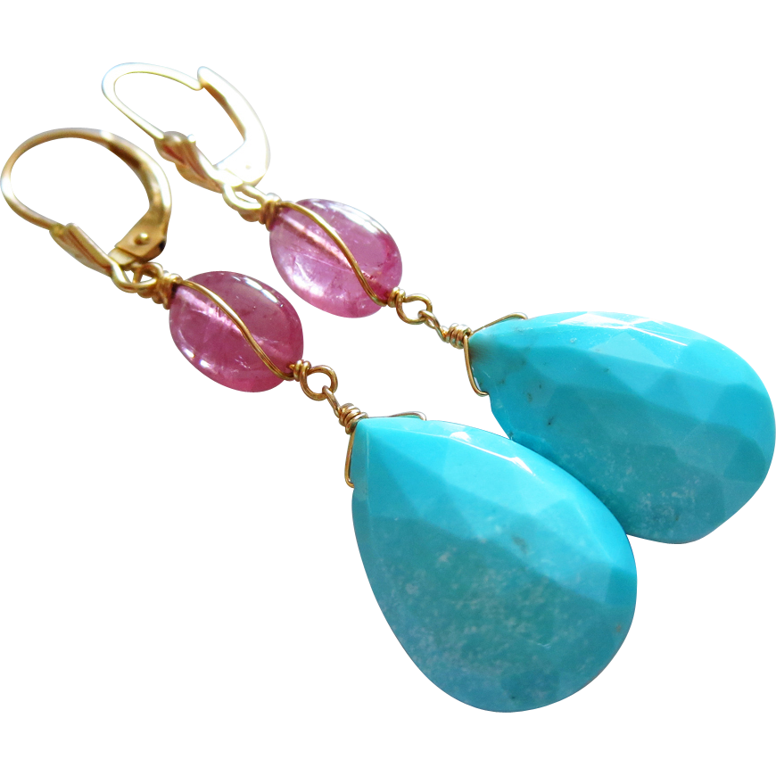 Afghan Pink Tourmaline-Sleeping Beauty Turquoise-14k Solid Gold Leverback Dangle Earrings