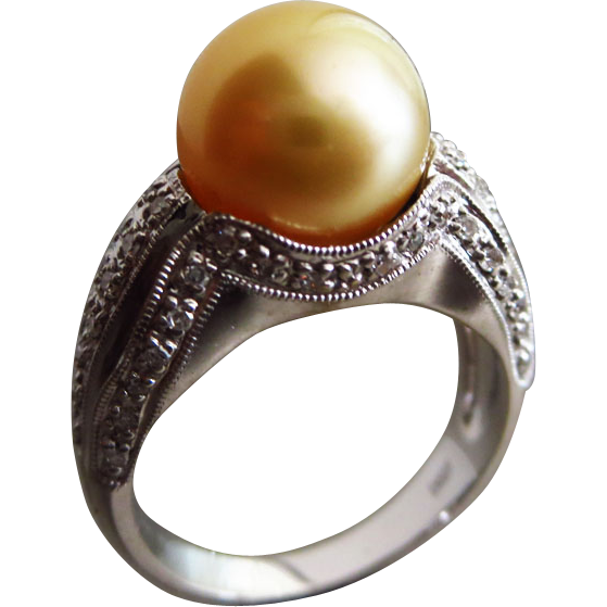 Vintage 11mm Golden South Seas Sea Pearl-Diamond-14k White Gold Cocktail Ring
