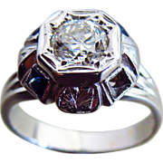 Vintage Art Deco Diamond  Early Transitional Old European Cut Diamond-Blue Spinel 14k White Gold Engagement Ring