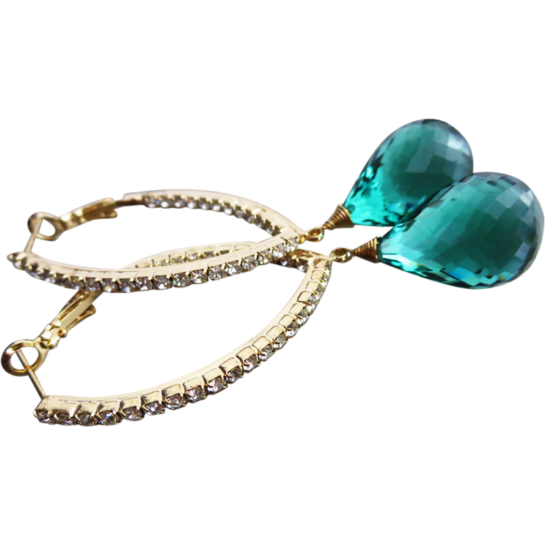 Green Amethyst-Inside Outside CZ Hoops Gold Vermeil Earrings