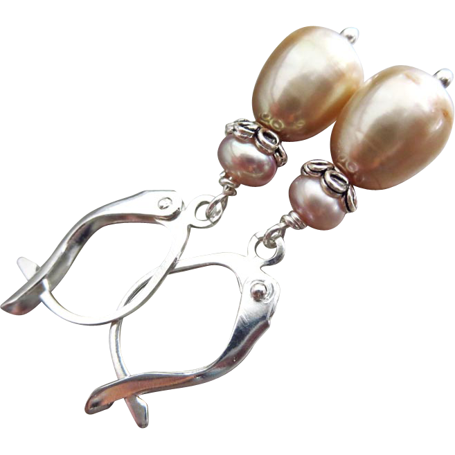 Champagne Rose Fresh Water Pearls-Sterling Silver Dangle Earrings