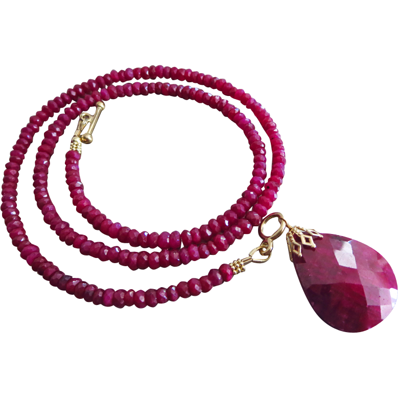 Superior 27.6ct Ruby Pendant-July Birthstone-14k Solid Gold Toggle Necklace