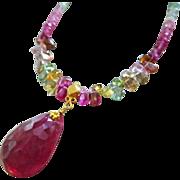 18K Gold-12.39ct Pink Tourmaline-Indicolite Multi Tourmaline-Solid Gold Pendant Necklace