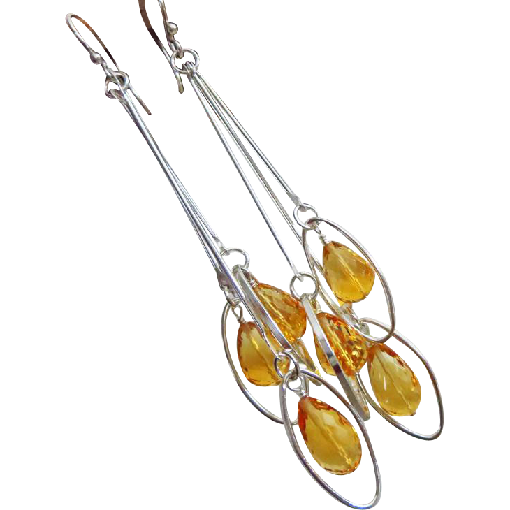 Allure-Golden Citrine Teardrops-Sterling Silver Tiered Contemporary Long Cascading Earrings