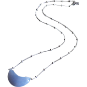 Crescent Moon-Natural Blue Chalcedony Pendant-Sterling Silver Necklace