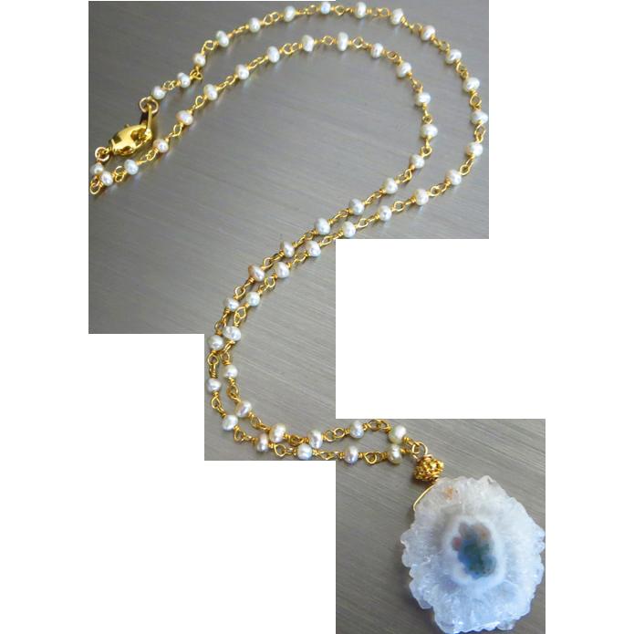 Solar Stalactite Druzy Quartz Slice Pendant-Fresh Water Pearl-18k Gold Vermeil Pendant Necklace