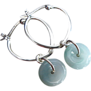 Natural Untreated Jadeite Jade Hoop Donut-Sterling Silver Earrings