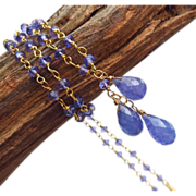 Natural Tanzanite Trio Briolette-18k Gold Vermeil Pendant Necklace