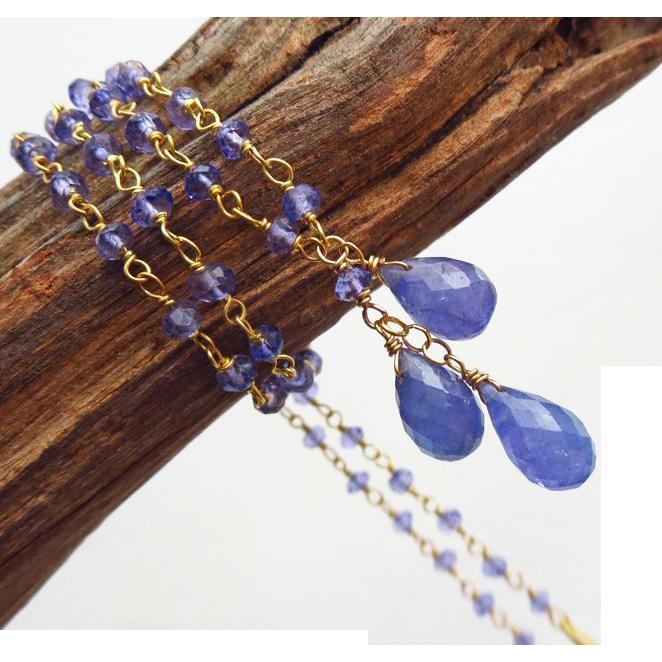 Natural Tanzanite Trio Briolette-18k Gold Vermeil Pendant Necklace