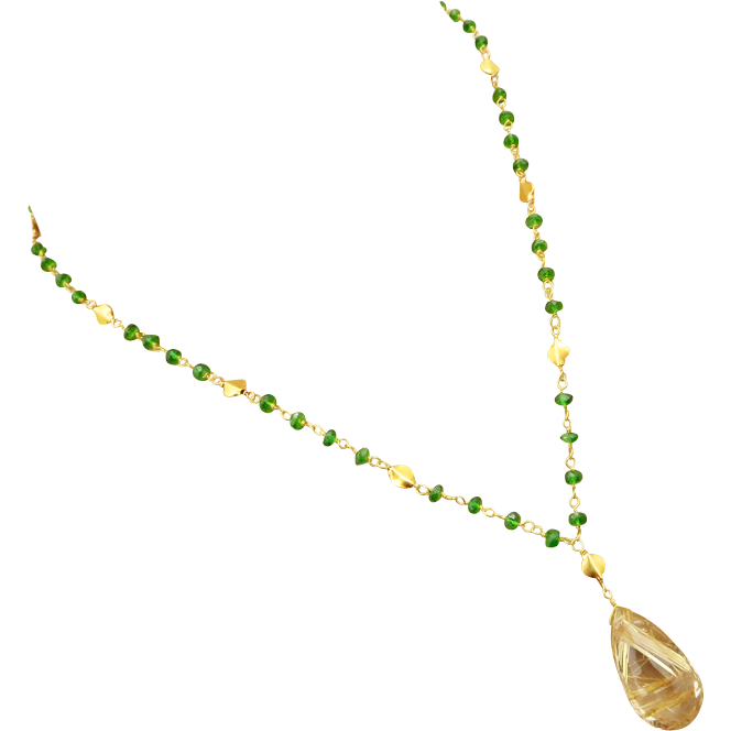 AAA Rutilated Quartz-Solid 18k Gold-Chrome Diopside Pendant Necklace