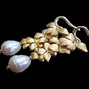 Petals-Genuine 15mm Teardrop FW Pearls-Gold Plated Blossom Dangle Leverback Bridal-Bridesmaid Earrings