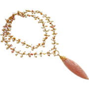 Untreated Pink Peruvian Opal Fringe-Peach Moonstone Marquise Pendant Gold Fill Toggle Necklace