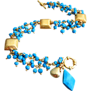 Tibetan Turquoise-24k Gold Vermeil-Fringe Bracelet with Charms
