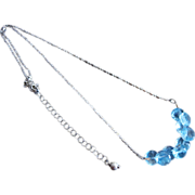 Blue Topaz Cluster-Kisses-Onion Briolettes-Sterling Silver Rhodium Necklace-December Birthstone