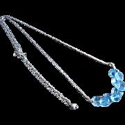 Blue Topaz Cluster-Kisses-Onion Briolettes-Sterling Silver Rhodium Necklace-December Birthstone