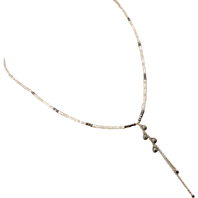 18.2ct Natural White Gray Black Diamond Briolette Cascading 14k Solid White Gold Necklace-April Birthstone
