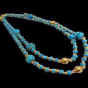 "38"" Long Arizona Turquoise Nuggets-Tibetan Turquoise-24k Gold Vermeil Bead Long Layering Necklace"