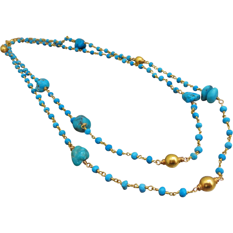 "38"" Long Arizona Turquoise Nuggets-Tibetan Turquoise-24k Gold Vermeil Bead Long Layering Necklace"