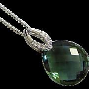 Green Amethyst Prasiolite Pendant-CZ-Sterling Silver Necklace