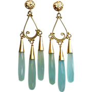 Red Carpet-Aqua Chalcedony Bold Chandelier-14k Gold Fill 18k Gold Vermeil Chandelier Earrings with Posts