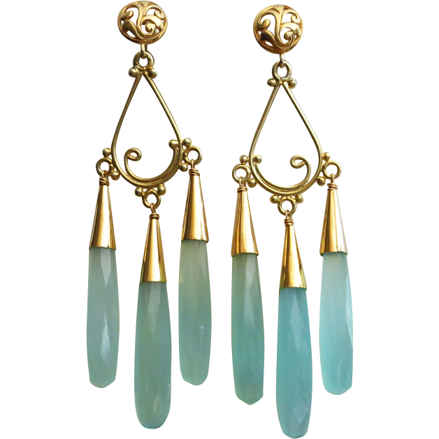 Reserved for K-Red Carpet-Aqua Chalcedony Bold Chandelier-Gold Fill 18k Gold Vermeil Chandelier Earrings with Posts