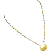 Sky Blue Topaz-18k Gold Vermeil Hoop Pendant Necklace