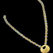 Sky Blue Topaz-18k Gold Vermeil Hoop Pendant Necklace