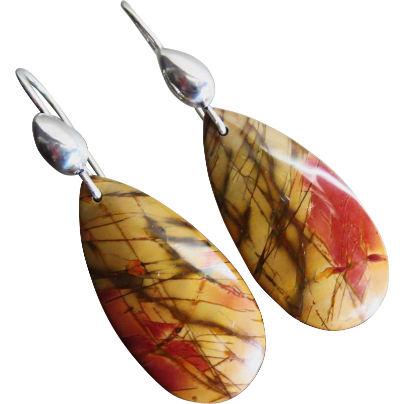 Picturesque Picasso Jasper-Sterling Silver Earrings