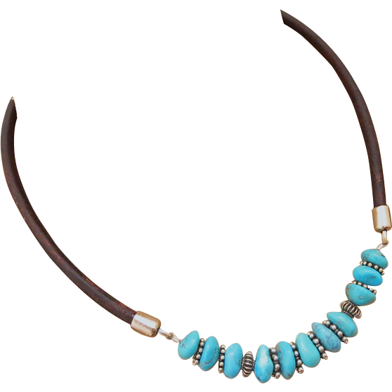 Natural Nacozari Turquoise-Bali Handmade Silver-Distressed Brown Leather-Unisex Necklace