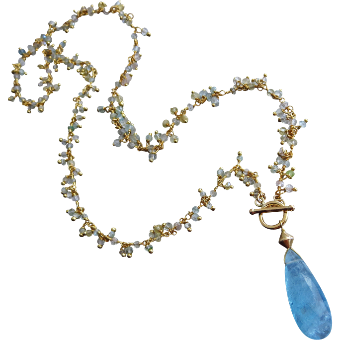 Multi Beryl-8ct Aquamarine Pendant-Morganite-Heliodore-March Birthstone-Gold Fill Pendant Fringe Charm Necklace