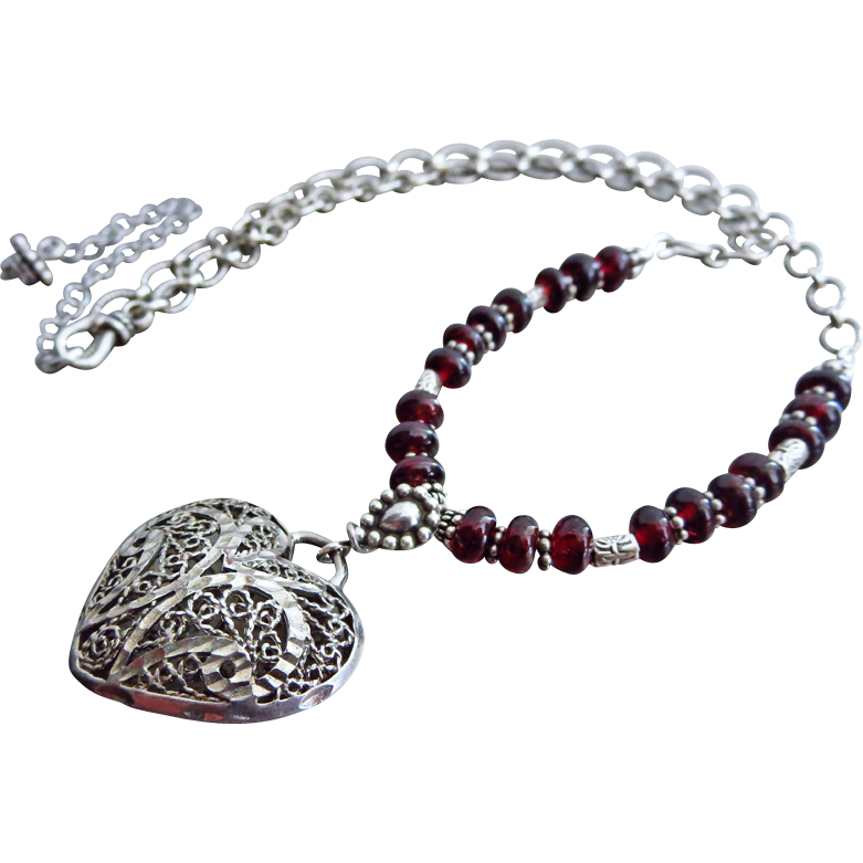 Garnet-Vintage Heart Filigree Pendant-Sterling Silver-Karen Hill Tribe-Bali Oxidized Silver-January Birthstone-Adjustable Necklace