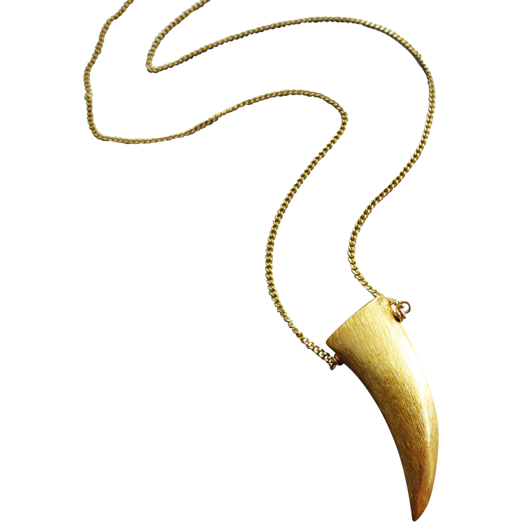 Brushed Satin Finish Gold Tusk Horn-Gold Fill Layering Pendant Unisex Necklace