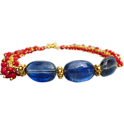 Exceptional Blue Kyanite-Red Coral Fringe-Gold Vermeil Toggle Bracelet