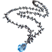 Natural Genuine 15ct Blue Topaz-Black Pyrite-Black Rhodium Plate Fringe Charm Adjustable Necklace