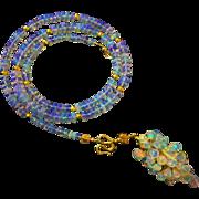 3in1 70ct Best Ethiopian Welo Opal-October Birthstone-18k Solid Gold-Briolette Cascade 3 Way Pendant Necklace