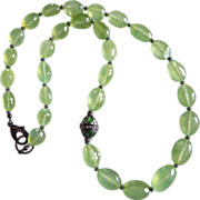 OOAK 360ct Gem Prehnite-Green Tourmaline-Pave Diamond Clasp-Black Rhodium Oxidized Silver-22 Inch Necklace