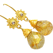 Spun Gold-Rare 35ct Golden Rutilated Rutile Quartz-Champagne Diamond-18k Solid Gold Dangle Earrings
