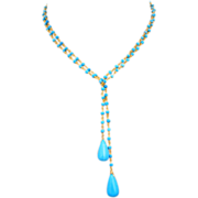 "3 Way 36"" Tibetan Turquoise-Gold Fill Beaded Briolette Lariat Necklace"
