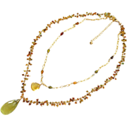 2 strand Tourmaline-30ct Lemon Quartz Citrine Pendant-Layering Adjustable Gold Fill Fringe Necklace