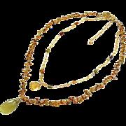 2 strand Tourmaline-30ct Lemon Quartz Citrine Pendant-Layering Adjustable Gold Fill Fringe Necklace
