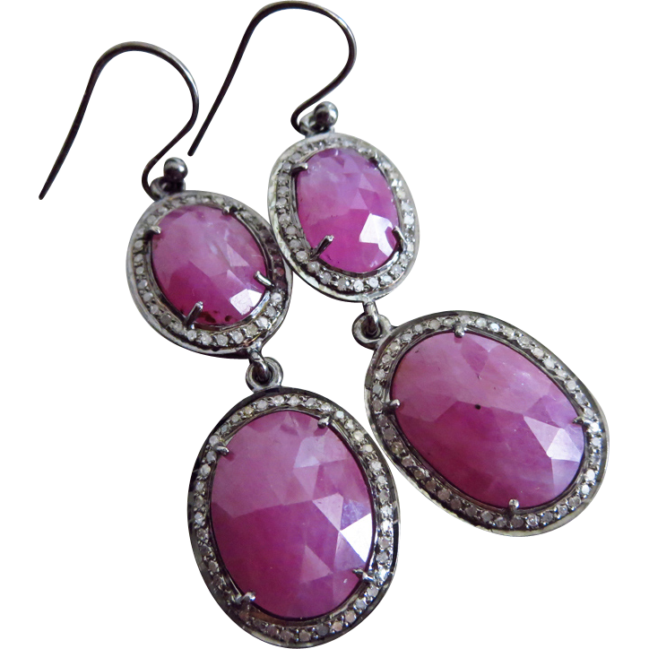 Natural Ruby-Pave Diamond-July Birthstone-Black Rhodium Sterling Silver-Precious Gems Dangle Earrings