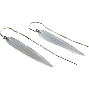 Slender Crystal Quartz Tapers-14k White Gold Threader Dangle Earrings