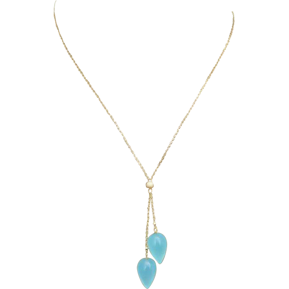 14k Gold-Aqua Chalcedony Teardrops-Lariat Style Pendant Necklace