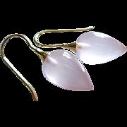 The Best Madagascar Rose Pink Quartz-14k Solid Gold Earrings